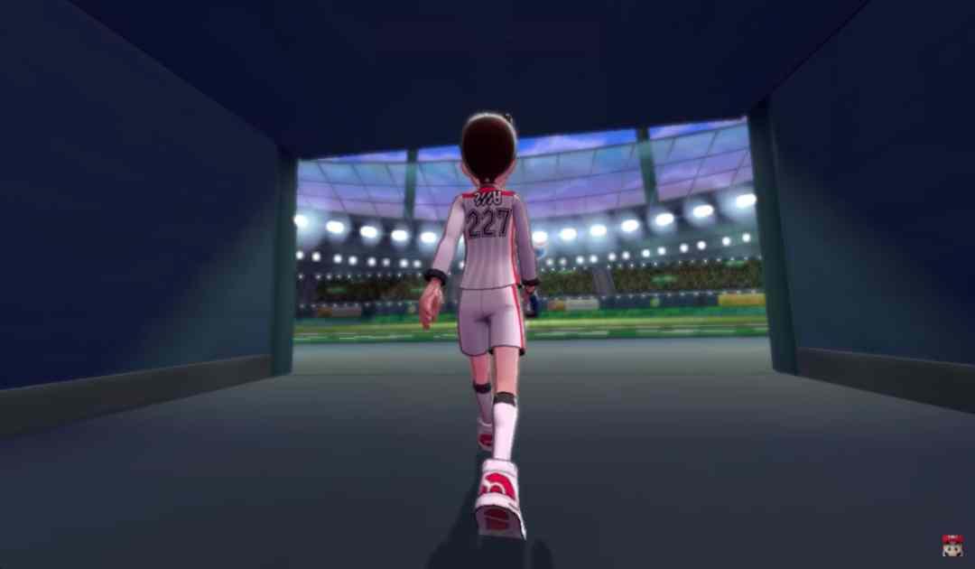 Screenshot dal trailer di Pokémon Spada&Scudo che mostra l'interno di uno stadio sportivo