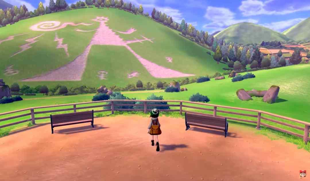 Screenshot dal trailer di Pokémon Spada&Scudo che mostra un gigantesco e misterioso Geoglifo