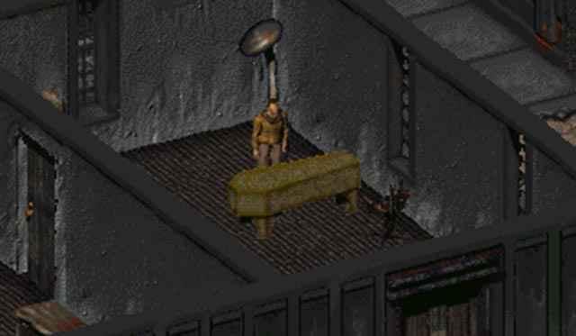"""Il Grande Ananias di Fallout 2 e la """"mummia"""" Woody (nel sarcofago)"""