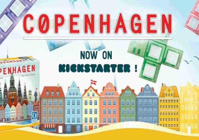 presentazione della campagna kickstarter di copenhagen, con il dettaglio delle facciate dei palazzi la scatola i polimini e il logo queen games