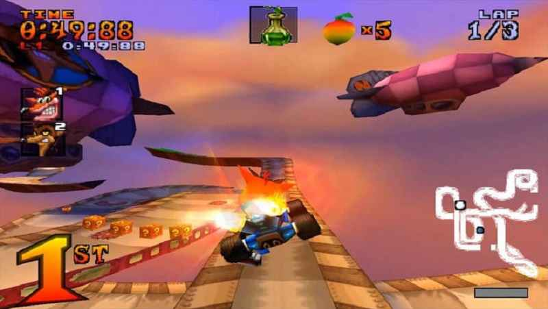 crash team raving, gioco racing del 1999 con crash