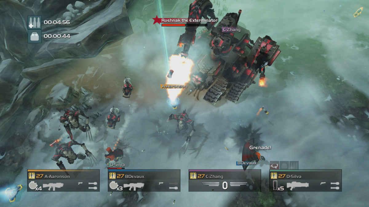 Screenshot tratto da una missione particolarmente caotica di Helldivers