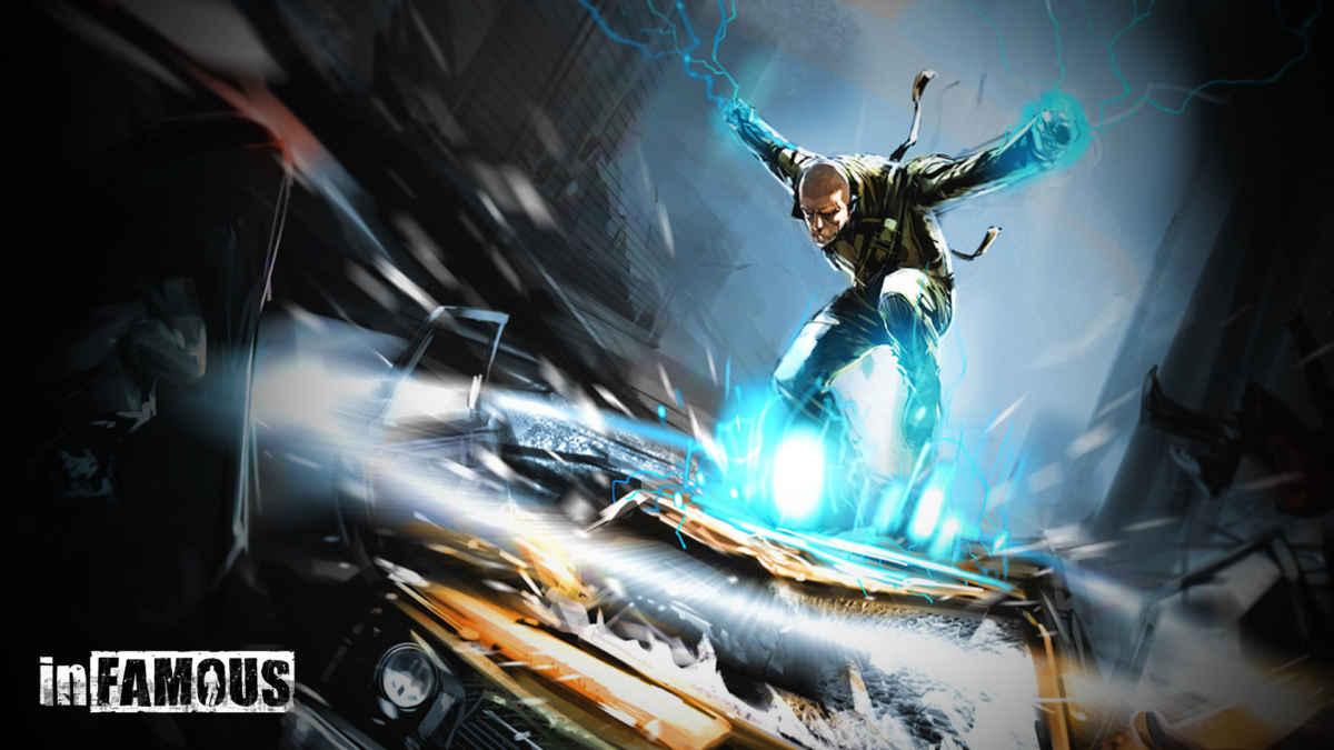 Artwork del primo inFamous che ritrae Cole atterrare sopra di una macchina generando una potente onda elettrica