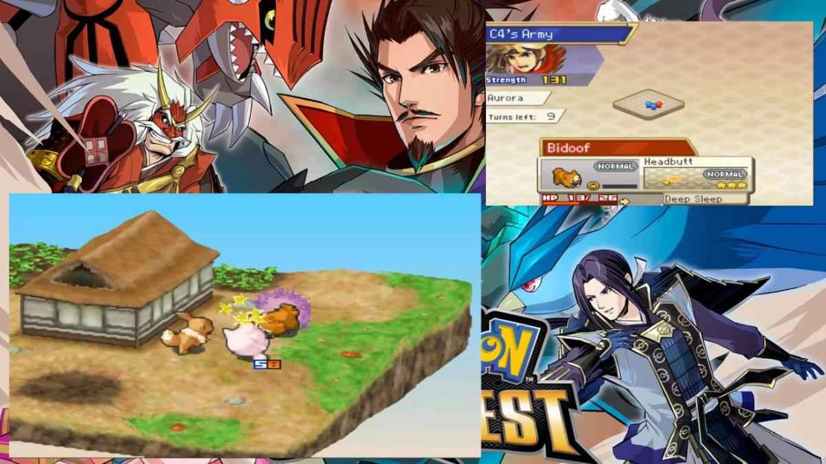 Screenshot dello spin-off Pokémon Conquest, che unisce il sistema di gioco di un RPG Tattico con l'incredibile quantità di Pokémon