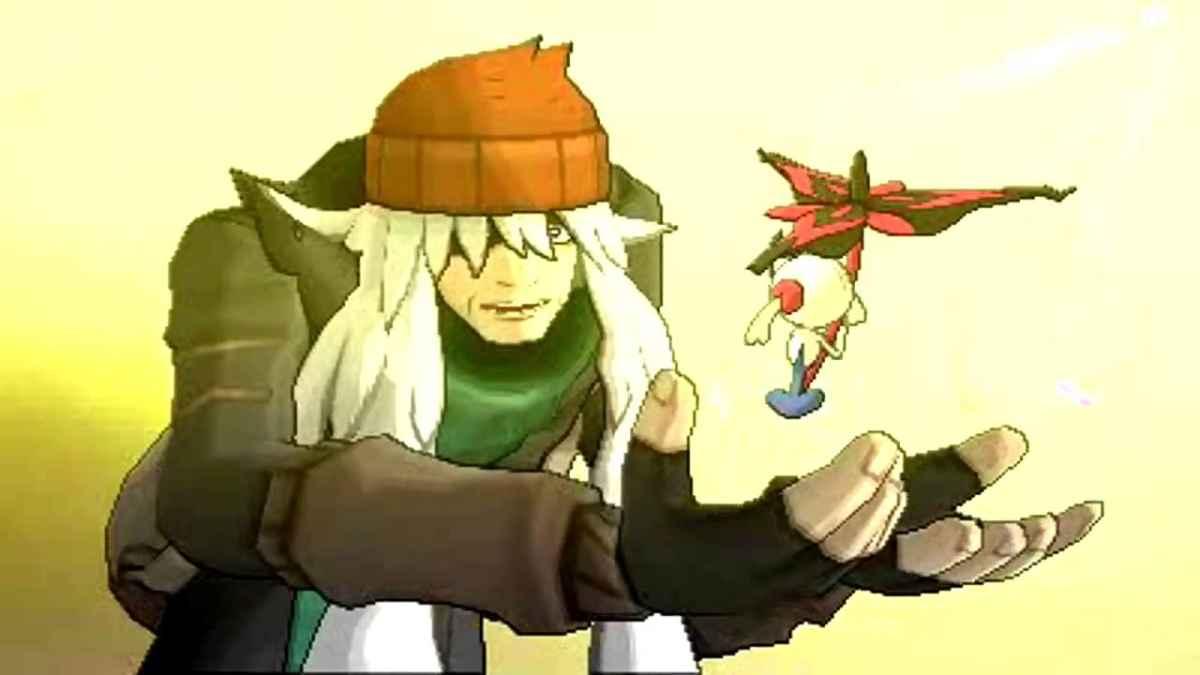 Screenshot proveniente dal finale di Pokémon X&Y, dove Az si ricongiunge al suo Floette