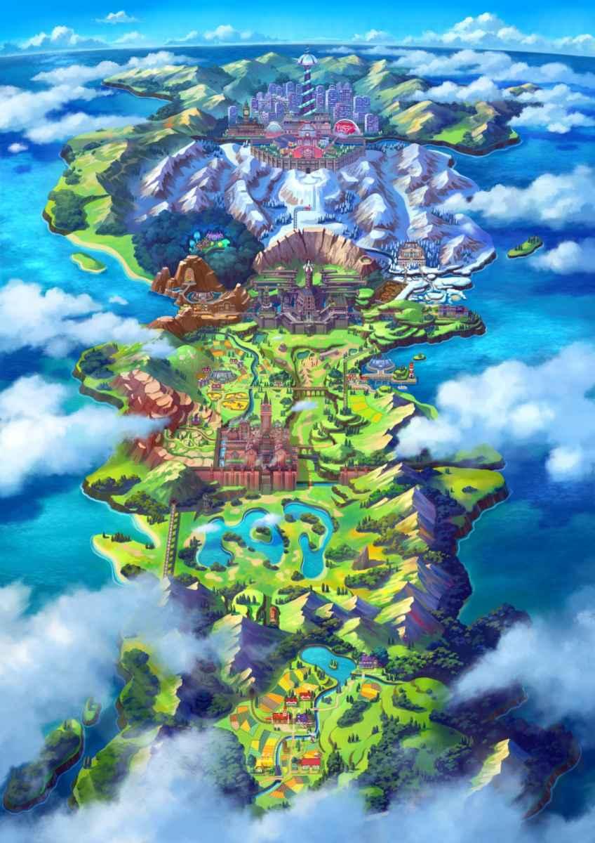 Mappa della regione di Galar, ispirata alla Gran Bretagna