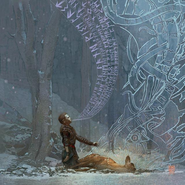 Atreus celebra i riti funebri norreni per un cervo abbattuto da un cacciatore
