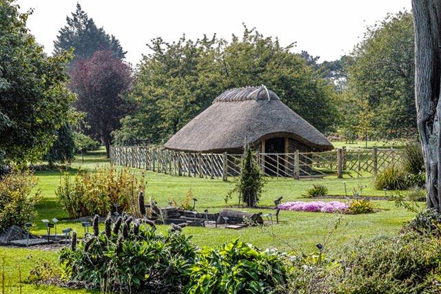 Un'abitazione norrena immersa in una foresta, e circondata da un giardino di erbe
