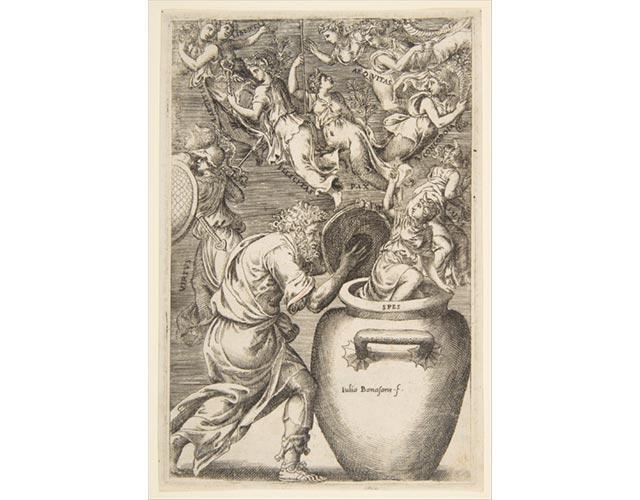 Epimeteo apre il Vaso di Pandora - Giulio Bonasone - XVI secolo
