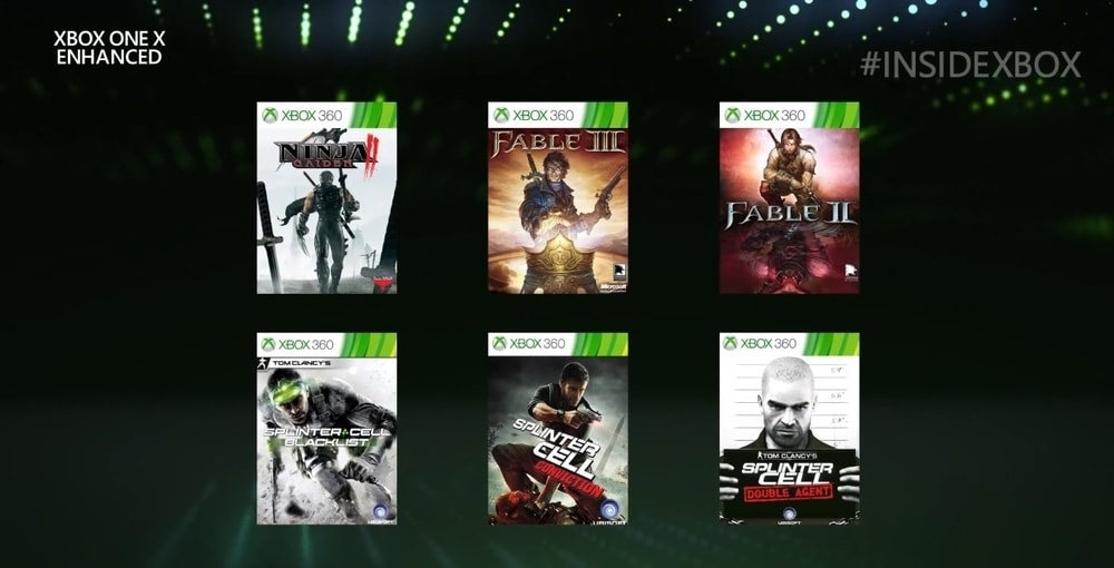 Altri sei titoli si aggiungono alla retrocompatibilità potenziata per One X, tra cui Splinter Cell e Fable