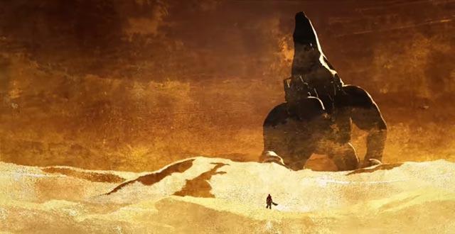 Kratos incontra Crono, che vaga con il Tempio di Pandora incatenato alla sua schiena