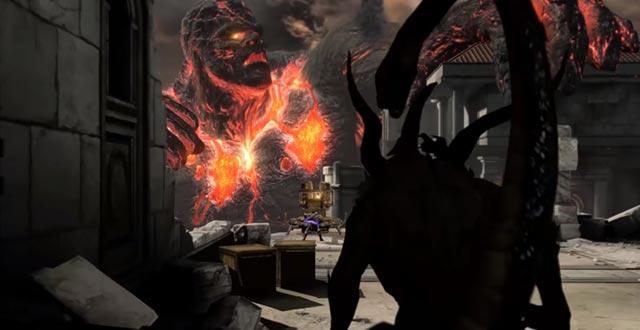 La Chimera osserva Kratos dalle ombre, prima di sferrare il proprio attacco