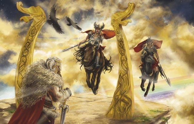 Le Valkyrie norrene, o Valkyrjur, giungono alla morte del personaggio
