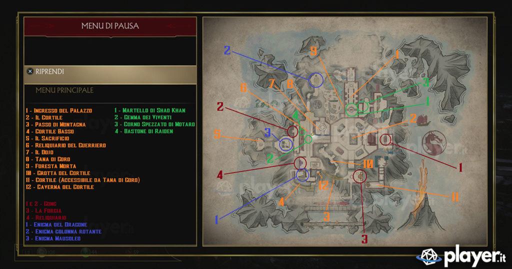 La mappa completa della Kripta di MK 11 con tutti i segreti, gli oggetti e le aree da sbloccare