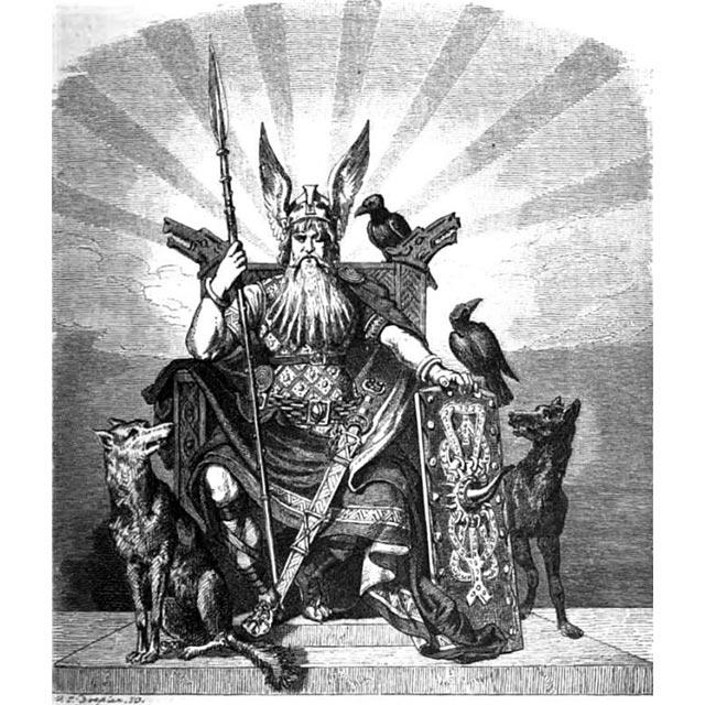 Un'illustrazione di Carl Emil Doepler ci mostra Odino seduto sul suo trono, con i corvi Huginn e Muninn e i lupi Geri e Freki