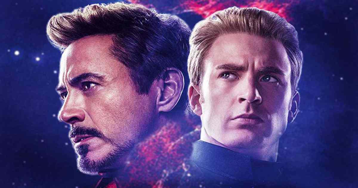 Locandina di Avengers Endgame raffigurante Iron Man e Captain America