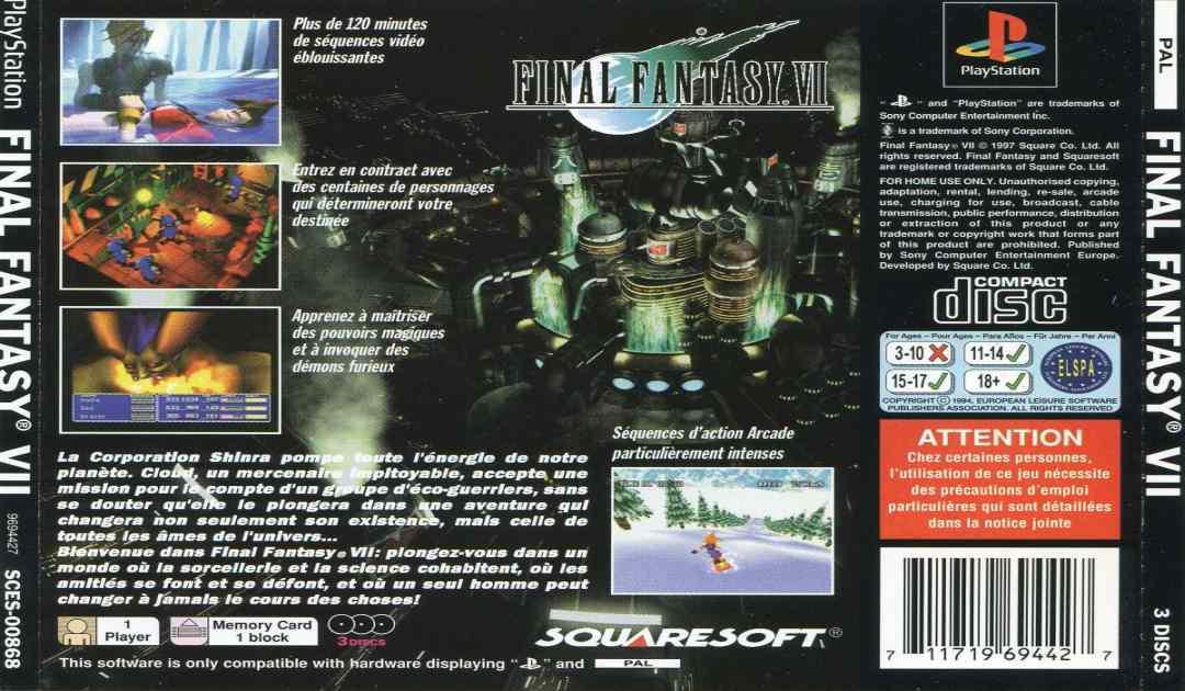 Fotografia del retro della copertina Europea di Final Fantasy VII che mostra la morte di Aerith