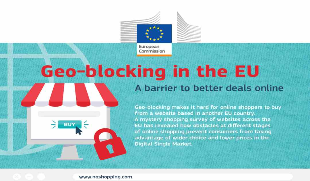Manifesto europeo che spiega cosa sia il geoblocking