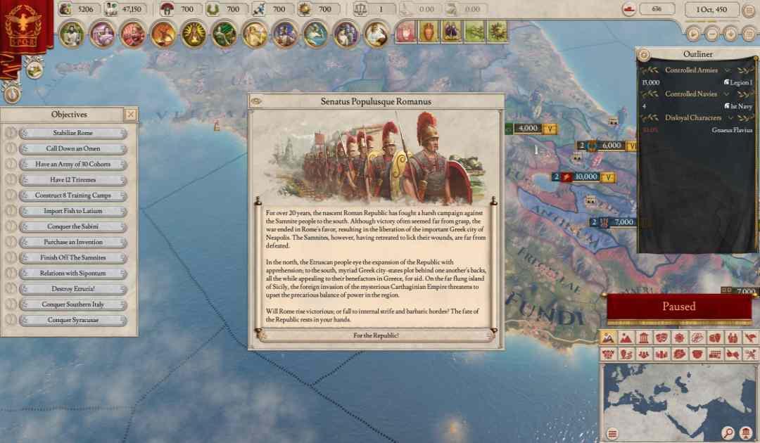 Screenshot da Imperator Rome che mostra un riassunto dei primi anni della Repubblica Romana
