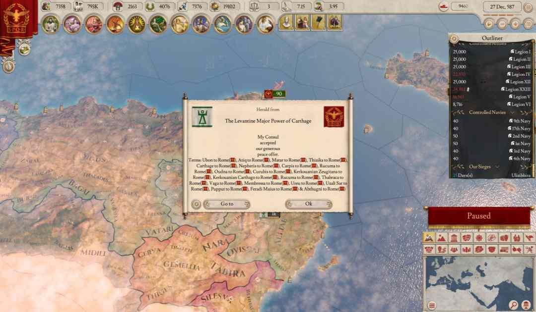 Screenshot da Imperator: Rome che mostra Roma conquistare Cartagine