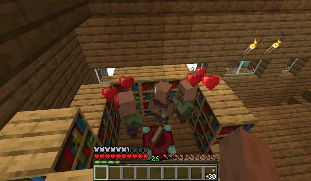 Screenshot dall'ultimo update di Minecraft che mostra dei Villagers accoppiarsi nella casa di un giocatore