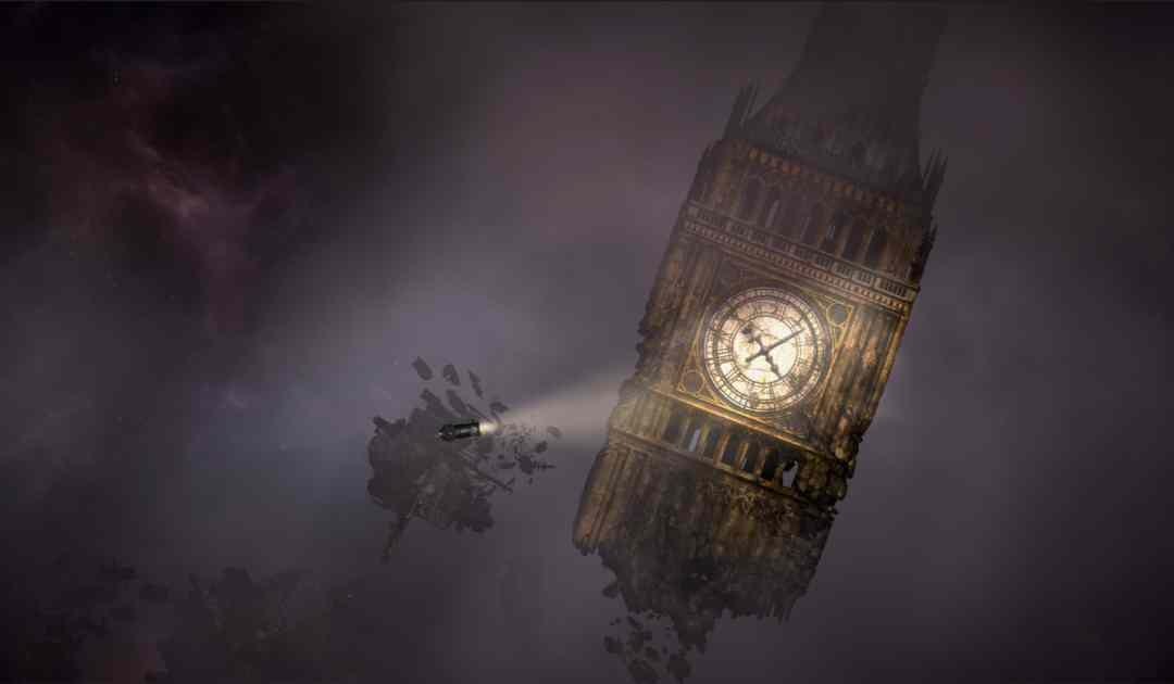 Screenshot da Sunless Skies che mostra il Big Ben nello Spazio