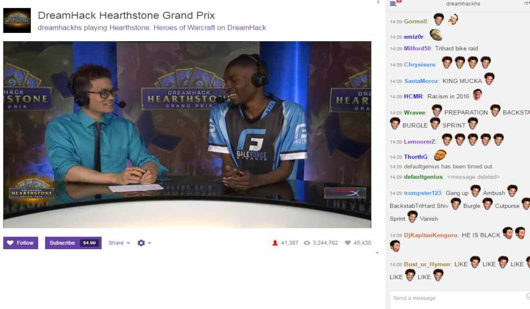 Un esempio di una chat razzista nei confronti di un pro-player di Hearthstone