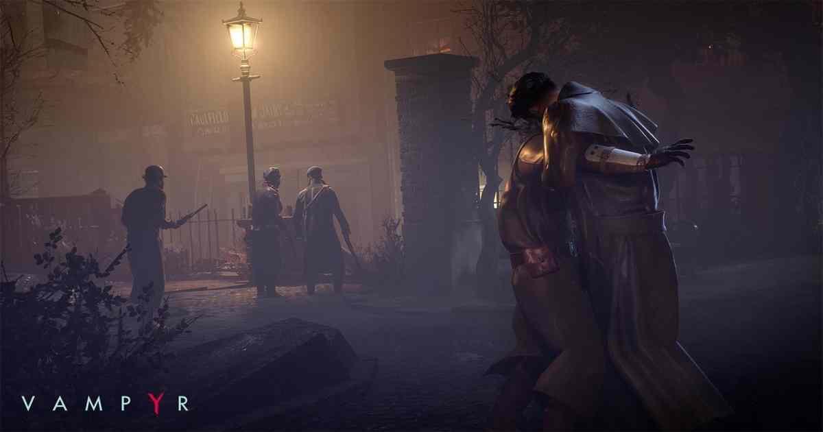 Screenshot da Vampyr che mostra il protagonista uccidere furtivamente una guardia