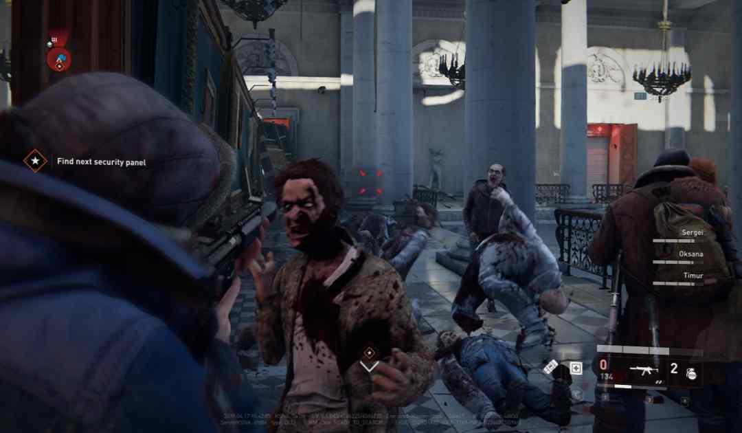 Screenshot da Wolrd War Z che raffigura un livello in un municipio russo