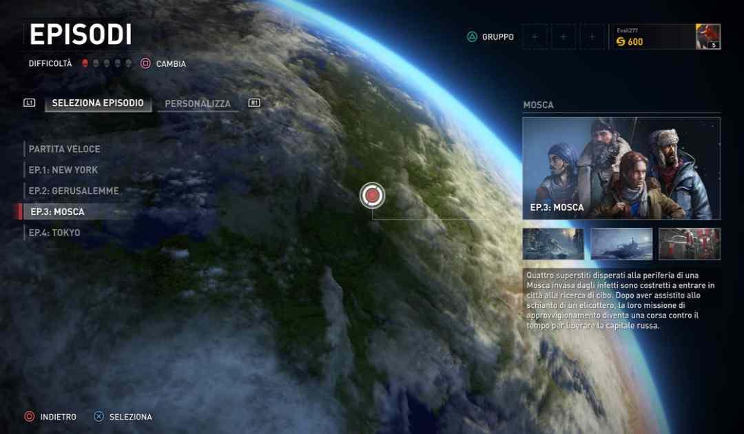 Screenshot di World War Z che mostra la selezione della mappa di gioco