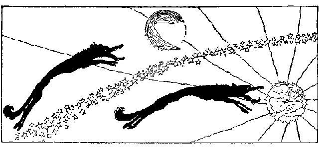 Un'illustrazione di Willy Pogany che ritrae Skoll e Hati che inseguono rispettivamente il Sole e la Luna