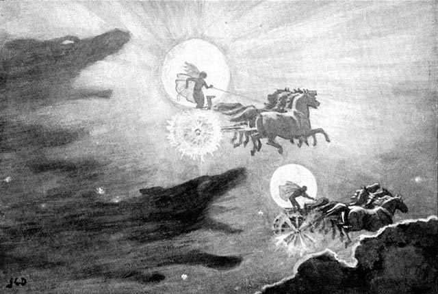 Skoll e Hati inseguono Sol e Mani - John Charles Dollman