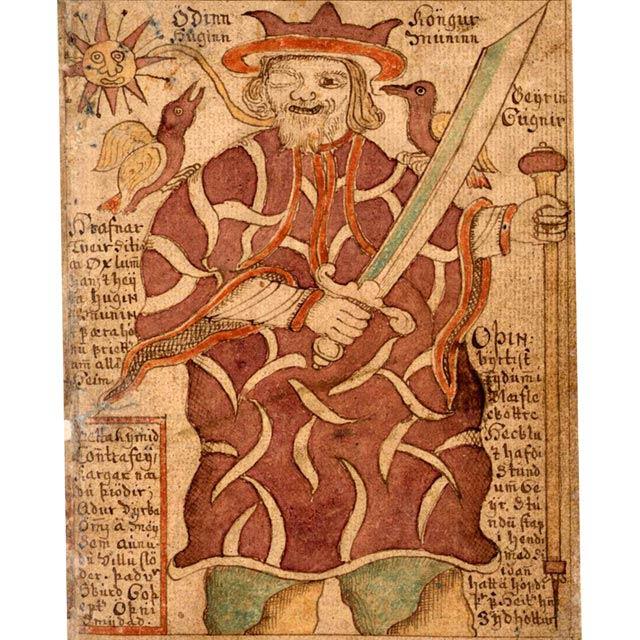 Una miniatura islandese ci mostra Odino con i corvi Huginn e Muninn