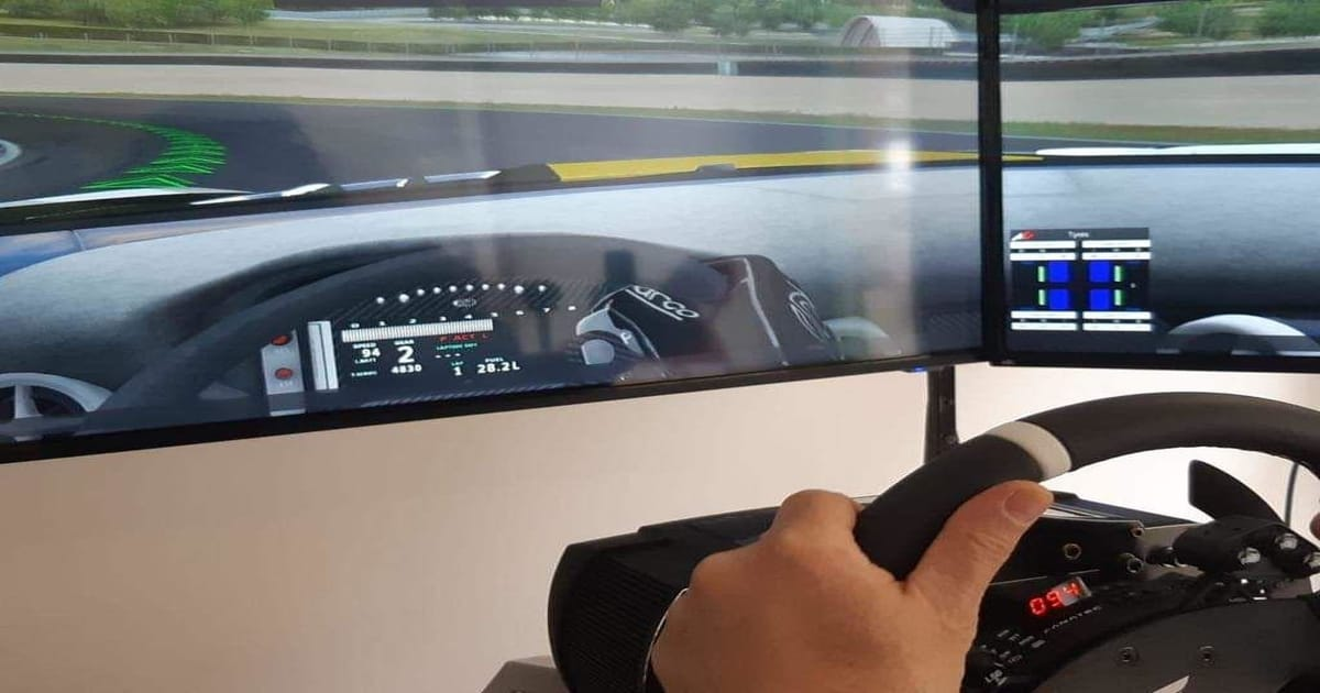 dettaglio delle mani di un pilota che sta guidando nella simulazione