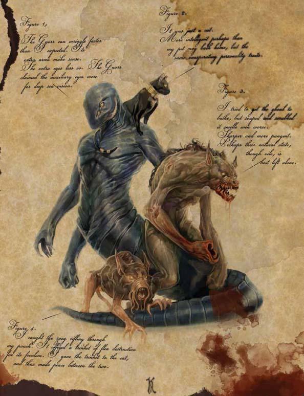 Un disegno su carta pergamenata raffigura le Razze dei Miti contenute nel manuale, giocabili come Personaggi: i Gatti delle Terre del Sogno, i Ghoul dei Miti, gli Gnorri e gli Zoog.