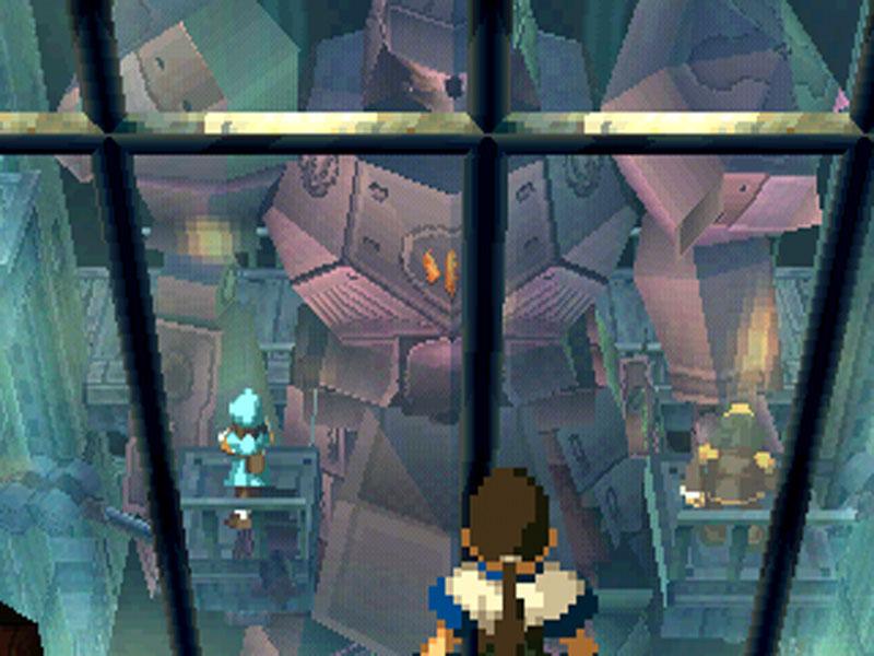 Screenshot da Xenogears che mostra Fei, il protagonista, osservare un Gear