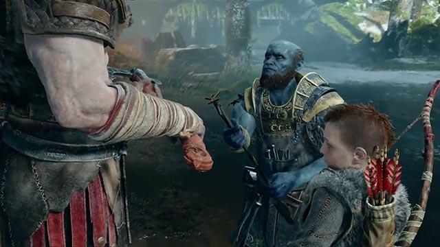 Kratos e Atreus incontrano il tozzo e burbero nano Brok