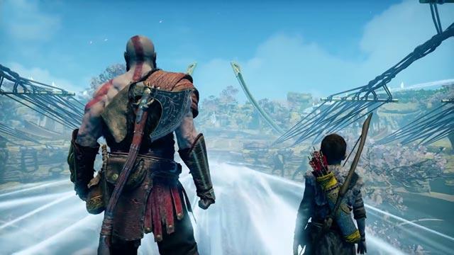 Kratos e Atreus attraversano un ponte di luce in Alfheim