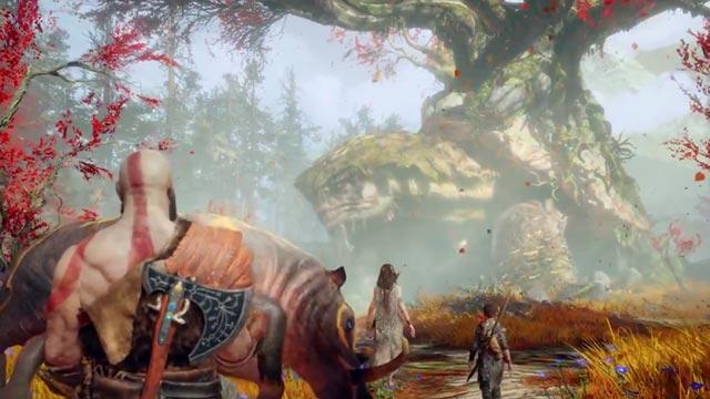 Kratos e Atreus portano il cinghiale abbattuto nella pittoresca casa di Freya