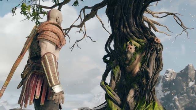 Kratos incontra Mimir, intrappolato sulla sommità del monte più alto di Midgardr