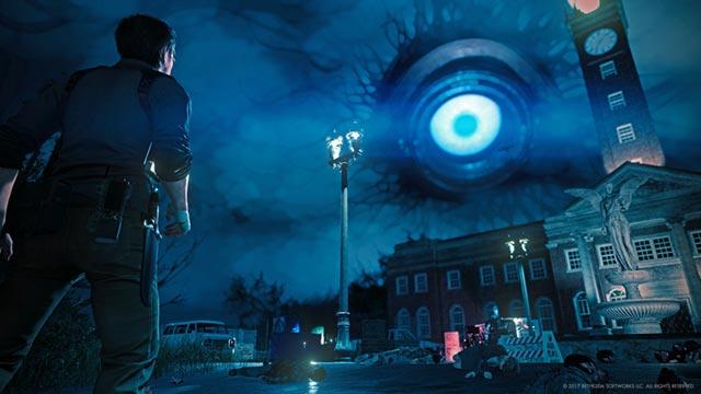 Il gigantesco occhio di Apertura che fluttua nei cieli di Unione in The Evil Within 2