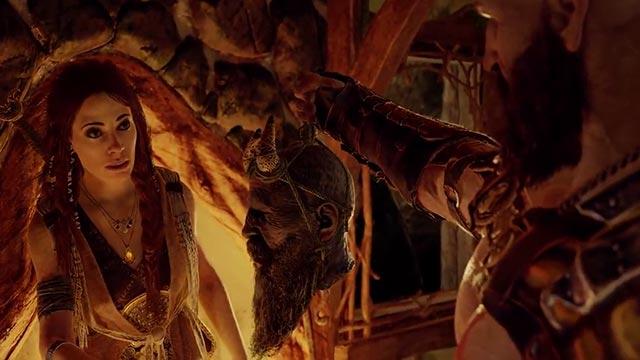 Freya rianima la testa di Mimir per Kratos
