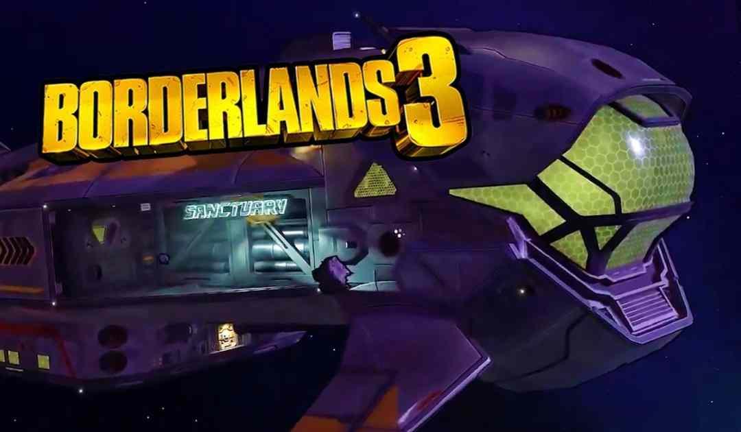 Screenshot del nuovo hub centrale di Borderlands 3, la navetta spaziale Sanctuary 3