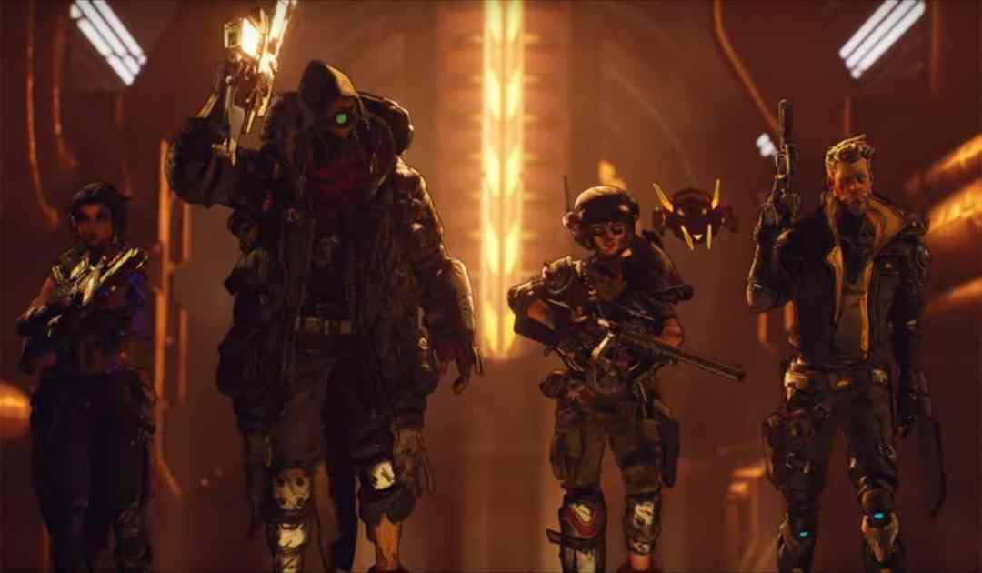 Screenshot dal trailer di Borderlands 3 che vede i quattro nuovi Cacciatori