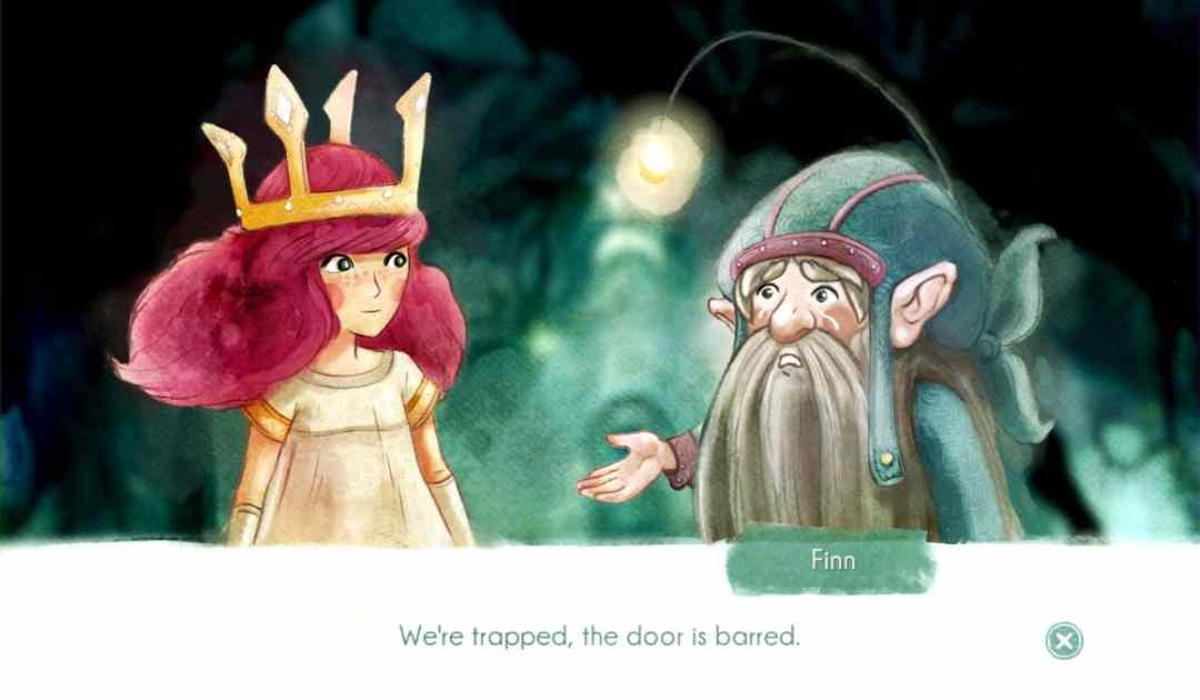 Screenshot che mostra un dialogo in Child of Light