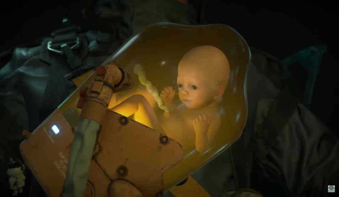 Screenshot dal nuovo trailer di Death Stranding che mostra un Bridge Baby