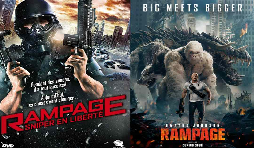 Locandine di Rampage (2010) di Uwe Boll e Rampage (2018) messe a confronto