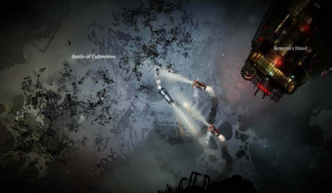 Screenshot di un campo di battaglia spaziale su Sunless Skies