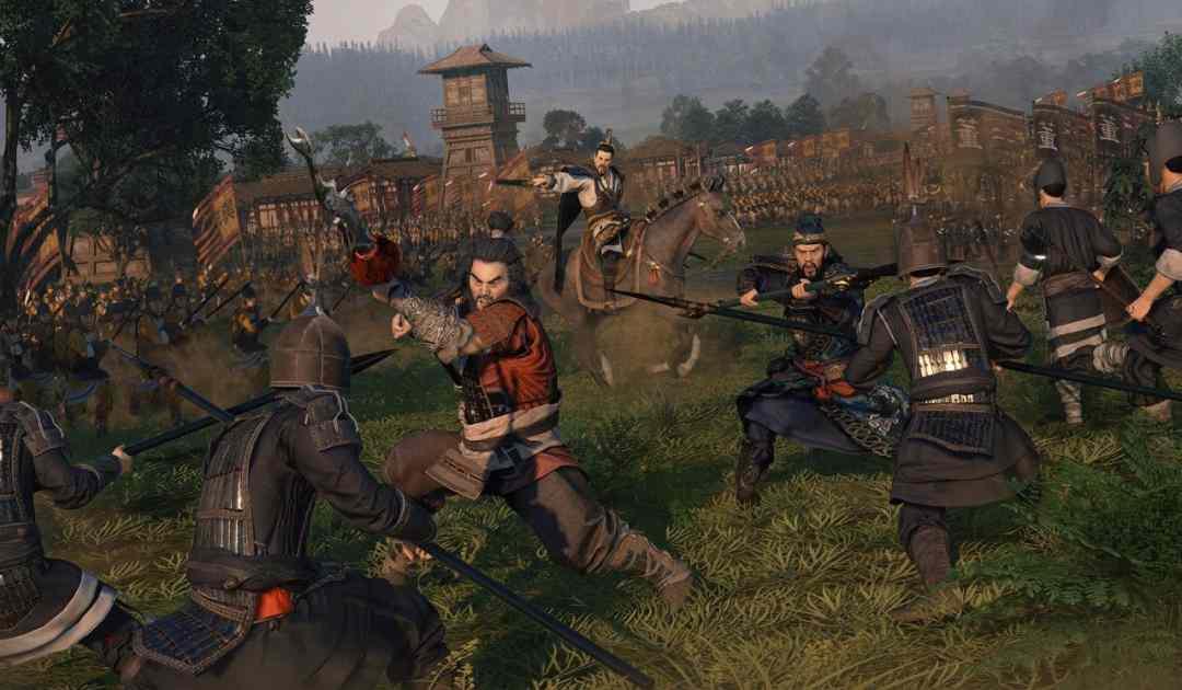 Screenshot di Total War: Three Kingdoms che mostra il generale Liu Bei combattere assieme ai suoi compagni giurati Guan Yu e Zhang Fei