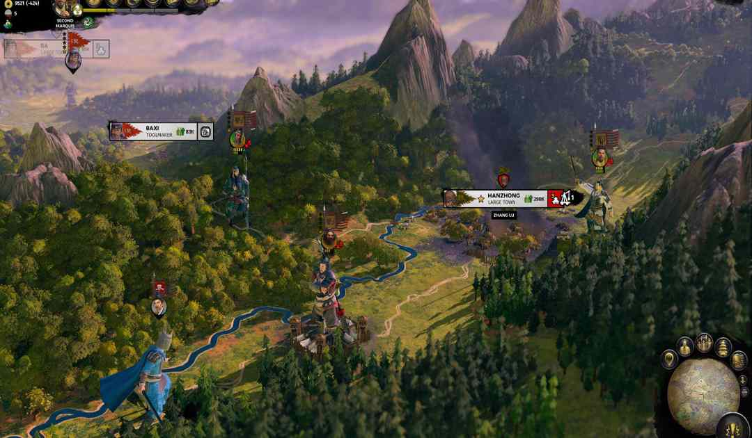 Screenshot da Total War: Three Kingdoms che mostra la mappa di gioco
